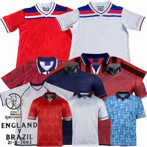 Top Retro clássico 1980 1981 1982 1989 1990 1992 1994 1995 1998 2002 Inglaterra camisa de futebol casa longe BECKHAM GASCOIGNE camisa Sports futebol
