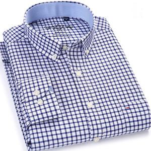 Los hombres de la tela escocesa de Chequeado Oxford con botones en el bolsillo en el pecho Camisa ocasional elegante clásico contraste estándar de ajuste de vestir de manga larga