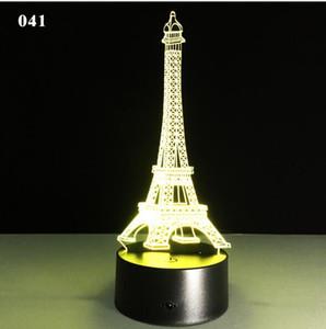 Eiffel Tower lampe cadeau créatif coloré led induction 3D veilleuse bâtiment
