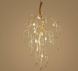 Art Designer LED Gold Zweig Kronleuchter Handarbeit Gold Alu. Kristallglas Wassertropfen Hängende Licht Inneneinrichtung Hängende Pendelleuchte