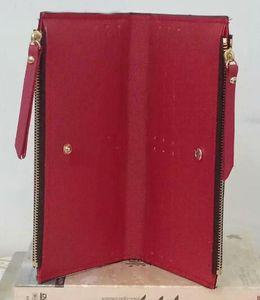 Gros bas rouge dame long portefeuille multicolore designer porte-monnaie titulaire de la carte femmes classique double fermetures à glissière poche Vérifiez les sacs coupés
