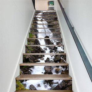 13pcs/set DIY 3D Waterfall Stair Stickers Waterproof Removable Self adhesive Wall Floor Decals Mural Sticker Home Decor Stairway