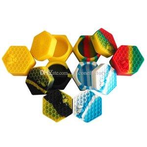 10pcs / lot 26ml hexagone avec abeille contenant en silicone de couleur assortie pour Dabs forme ronde contenants en silicone cire pots de silicone Dab conteneurs