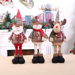 Decorazioni di Natale Christmas Dolls Decorazioni Albero di Natale Retro Piccolo fiocco di neve plaid telescopico Doll innovativa Elk Babbo