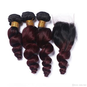 Ombre Brazilian Loose Wave Human Virgin Hair 99j Burgundy Loose Curly Cheap 3 bundles wiith closure Human Hair Weft with Wine Red Closure