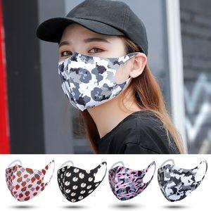 US Stock Fashion Camouflage Designer Mask Dustproof Washable Sponge Ice Silk Face Mask Breathing Reusable Washable Mouth Mask Face Cover