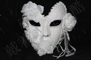 Venetian Mask Masquerade Women Mask Princess Elegant Lace Plus Carnival Party Full Face Feather White Halloween Mardi