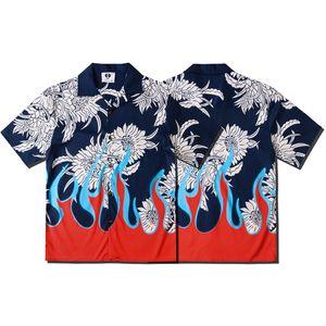 Avrupa İlkbahar Yaz Erkek Kadın Çince Style Gömlek Yangın Doğu papatya papatya Kısa Kollu gömlek Casual Hip Hop Tasarımcı Tee soğutmak