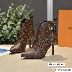 brang Matchmake caviglia con tacco cuoio genuino Monogram Canvas Croce cinghie la punta del piede della signora Boots
