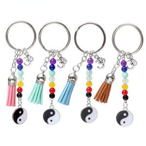 Personalità Black Horse Sette Chakra Bead creativo nappa Yoga 3D nappa Tai Chi ciondolo fascino anello della catena chiave di DIY Fit portachiavi 447