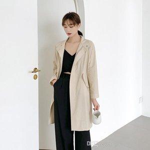 Trench lungo Sleee risvolto collo solido di colore femminile Abbigliamento casual Ol SytleOuterwear Womens autunno Desinger