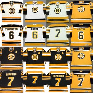 Boston Bruins 4 BOBBY ORR 6 Gord Kluzak 6 Joe Thornton 6 VERDE 7 TED Phil Esposito 7 PIT MARTIN personalizado hóquei Equipamentos S-5XL
