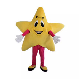 Professional custom Yellow Five-pointed Star Mascot Costume happy face star character Clothes Halloween festival Party Fancy Dress