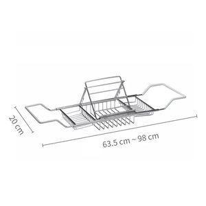 Acero inoxidable Bañera rack con Extendiendo ducha Organizador Bañera Caddy bandeja Celular bandeja del jabón de baño Estantes titular GGA2881
