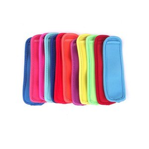 2020 Pop hielo mangas de paleta los titulares de bolsas reutilizables de tela de neopreno neopreno aislamiento de hielo Pop mangas anticongelante color al azar Enviar