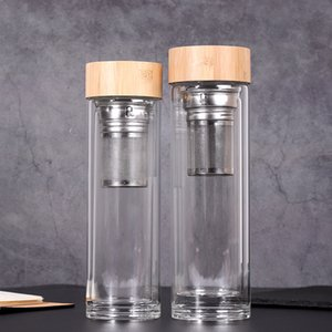 Lid 450ml Bamboo Garrafas xícaras de água duplo com paredes de vidro Tea Tumbler com filtro e vidro de água Infuser Basket GGA2633