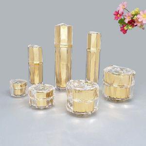 Gold-Vogel-Nest-Form-Flasche Leere Sprühflasche Essence Lotion Pump Acrylsahneglas kosmetische Behälter 5g 30g 50g
