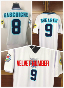Início 1996 INGLATERRA número HOMEvelvet EUROPA Campeonato Europeu de Futebol número de veludo 9 # SHEARER 8 # GASCOIGNE Retro Jersey Jersey clássico.