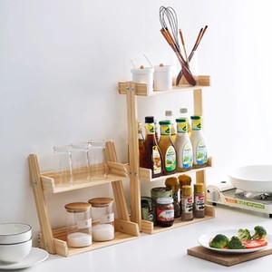 Madera de Pino estante de especia de la cocina 2 3 capas organizador soporte de almacenamiento para Spice condimentos Holder jardín Tiesto Display especia estante T200319