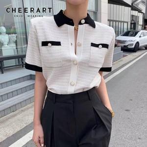 CHEERART Summer Korean Blouse Women Crop Top Short Sleeve Button Up Collar Shirt Knitted Ladies Top 2020 Fashion Clothes