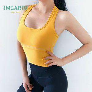 Imlario High Impact Yoga Crop Top schulterfrei Gym Sport Fitness Shirts Stoß- Frauen Leichtgewichtler Lauf Behälter mit Cup Padded T200622