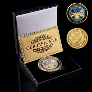 US Department of the Navy oro metallo placcato sfida militare USA Moneta Raccolta valori Wi / fortunato Box