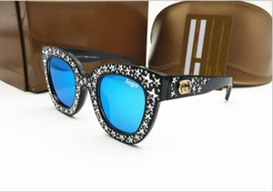 gucci sunglasses Nueva Venta Gafas de sol de diseñador Encantador Ojo de Gato Marcos Grandes Diamantes Pequeños Diamantes Mujer Estilo de Moda Calidad SUPERIOR G G GAFAS