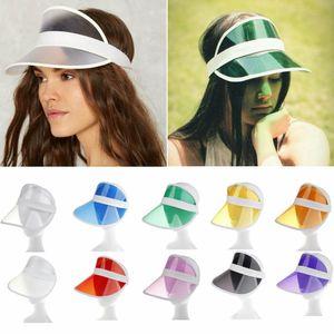 Verão PVC Hat Visor Partido Sun Casual Hat plástico transparente Adulto protetor solar Cap Moda Outdoor Sports Chapéus Mulheres senhoras