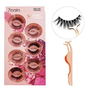 7 Pairs case Mink Eyelashes Lashes Maquillaje False Eyelashes Volume Lashes Cilios Plastic Cotton Stalk Eyelash Extension Faux Lashes