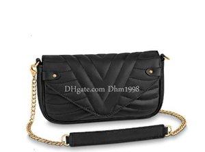 Dhm1998 mode nouveau sac à main de dames Sac en cuir chaîne Workmanship eau Ripple style sac à bandoulière noir Messenger Bag Livraison gratuite
