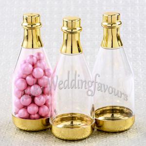 12 STÜCKE Gold Kunststoff Champagnerflasche Gefälligkeiten Geburtstagsfeier Süßigkeitskästen Brautdusche Jahrestag Liefert