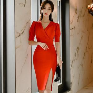 Vestido de primavera Nueva Corea femenina de tela con cuello en V de talle alto atractivo rojo del lápiz de Split ajustado de la rodilla-longitud de manga corta Vestidos Oficina