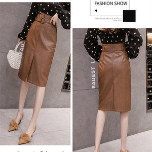 REALEFT Autumn Winter Sashes Women PU Leather Sheath Midi Skirts High Waist Knee-Length Wrap Skirts with Pocket Saia Female CX200708