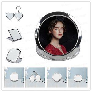 MDF 승화 빈 열 전달 화장 거울 열쇠 고리 빈 사랑 원형 진주 플레이트 화장 거울의 12 가지 유형