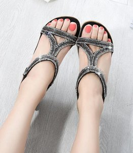 Сандалии европейского и американского стиля полые треугольные стразы сандалии с плоским дном клин плоские туфли
