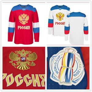 사용자 정의 저지 MEN 'S TEAM 러시아 2016 WORLD CUP 하키 저지 레드 화이트 # 74 알렉세이에 멜린 스티치 로고 아무 이름이나 전화 번호 사용자 정의
