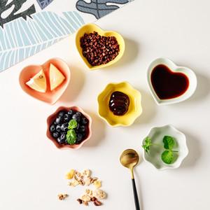 Mini multiusos plato onda en forma de corazón de cerámica condimento platos salsa platillo bandejas hogar 1 4fx E19