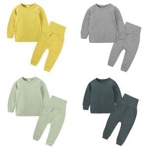 Çocuklar Giyim Kış Casual Katı Tops Pantolon Bebek Göbek Koruma İki Parça Setler Çocuk Casual Giyim Kız Bebek Giyim 3M-8T 07 ayarlar