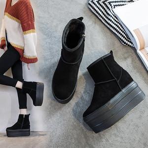 botas de plataforma de la nieve del invierno negro mujeres zapatos de tacón alto botas negras plataforma botines mujer felpa corta botte femme hiver 2020 TSDFC