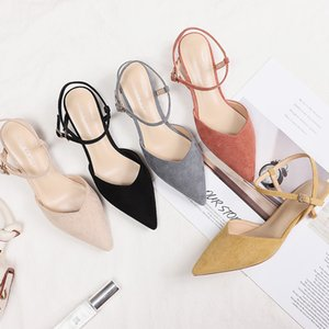 2020 Slingbacks Shoes Woman Faux Suede Leather High Heels Pointed Toe Pumps Women's Sandals Sexy Solid Flock Office Lady Career