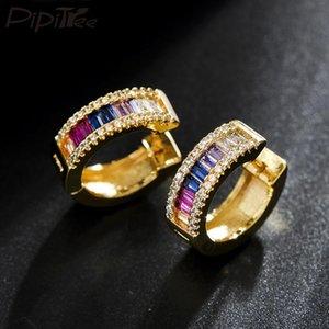 Pipitree Delicate Zircon Jewelry Earrings Gold Color Loop Mulicolor CZ Crystal Hoop Earrings for Women Ladies Bridal Party Gift