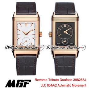 MGF Reverso Tribute Duoface 398258J JLC 854A / 2 Automatic Mens Watch Rosa de Ouro Branco Cinza Dial Leather Brown Strap Nova Puretime 01c3