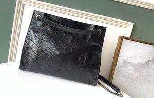 Realfine888 5A 577.999 33cm NIKI Medium Einkaufstasche Crinkled Vintage-Kalbsleder Schultertasche, kommen mit Staubbeutel, freies Verschiffen