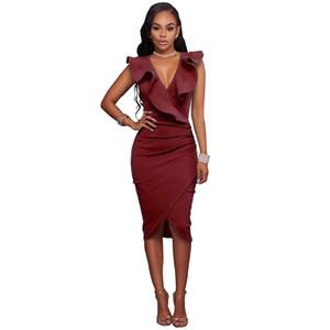 2019 nueva moda sexy mujer vestido midi con volantes cuello en v profundo sin mangas asimétrico sólido delgado bodycon fruncido vestido