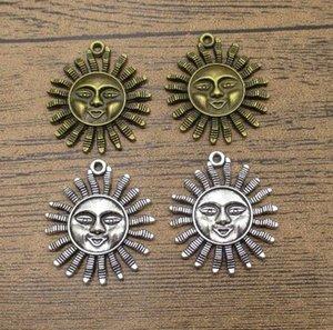 Charms Big Sun enfrenta 10PCS / Lot 35 * 31 milímetros Sun Pingentes Handmade Jóias Fit BraceletNecklace 2 cores disponíveis-WY1030