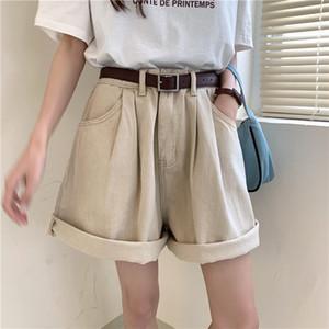 Summer 2020 New Chic Denim Shorts High Waist Cowboy Wide Leg Short Korean Style Elegant Casual Loose Jeans Trousers Pocket T200603