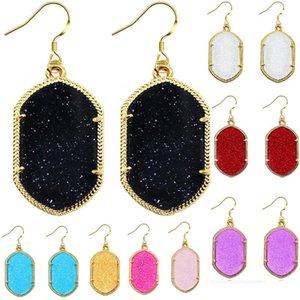 Moda Geométrica Druzy Brincos Glittery Acrílico Pedra Lustre Brincos Brincos para Mulheres Banhado A Ouro Brincos