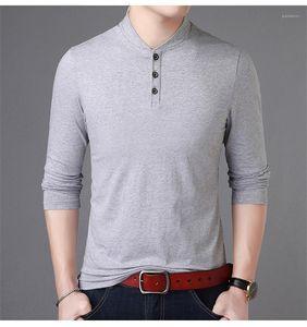 Hülse Tshirts Frühling-beiläufige Mens Stehkragen einfache feste Farbe Herren Designer-T-Shirts Knopf Mode lange Tops