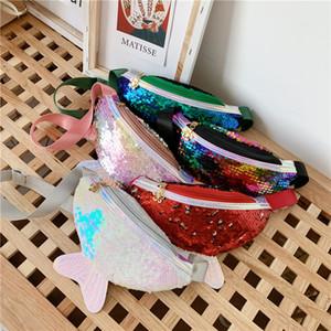 Kid Kalem Sequins Bel Çantası Karikatür Moda Fanny Paketi Crossbody Çanta Cüzdanlar Spor Unisex Spor Outdoor Kozmetik Denizkızı Çanta