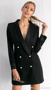 ree shipping spring and autumn new European and American women's long coat double breasted professional Slim suit jacket women's o